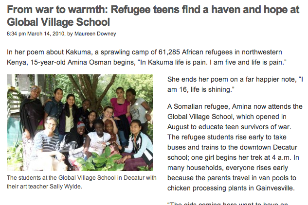 Atlanta Journal Constitution | From War to Warmth : Refugee Teens Find a Haven and Hope at Global Village School