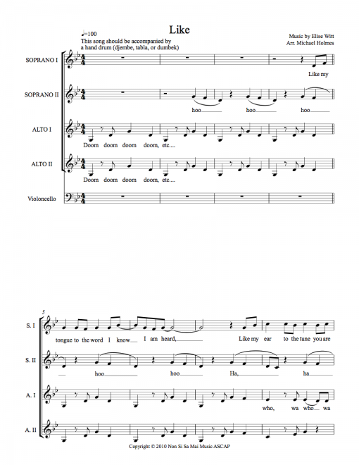 Like SSAA Sheet Music