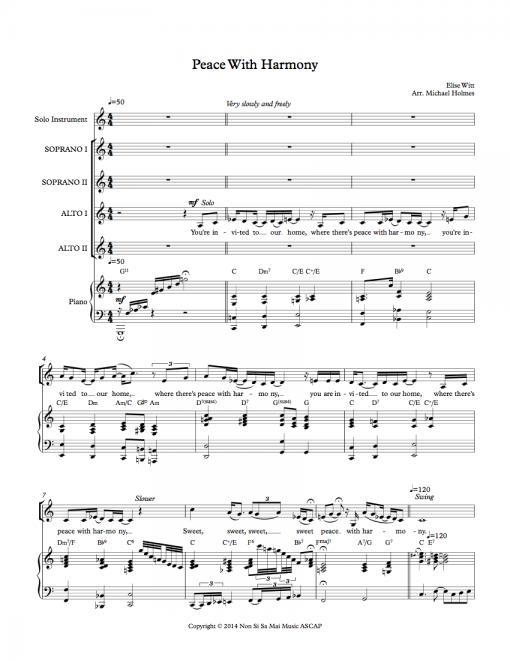 Peace With Harmony SSAA Sheet Music