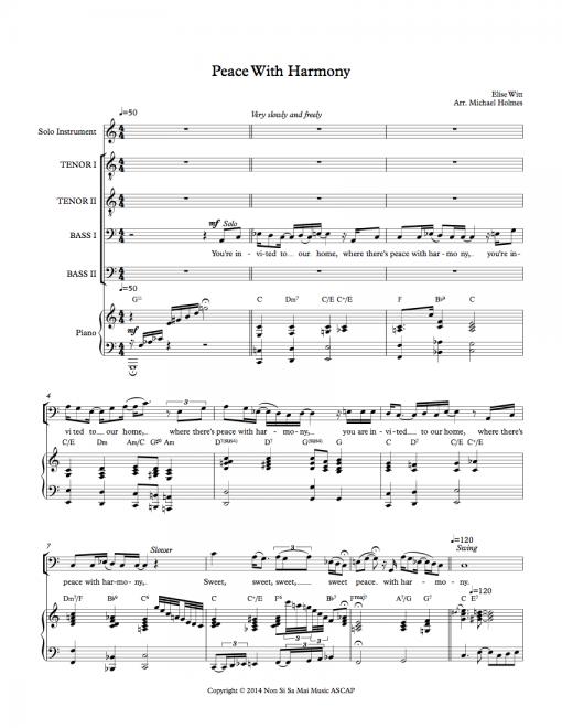 Peace With Harmony TTBB Sheet Music