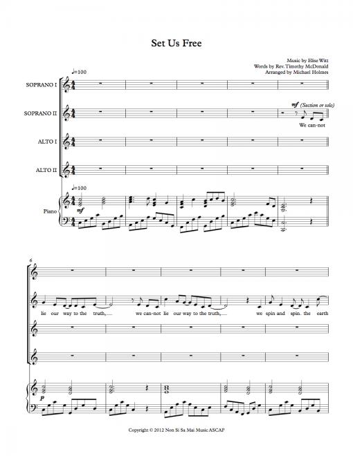 Set Us Free SSAA Sheet Music