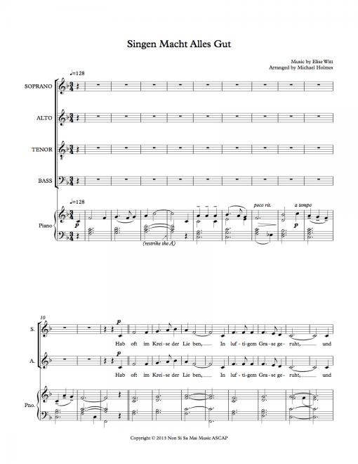 Singen Macht Alles Gut SATB Sheet Music