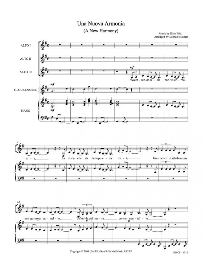 Una Nuova Armonia AAA Sheet Music