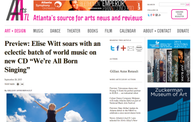 "Arts ATL – Elise Witt soars … on new CD ""We're All BORN SINGING"""