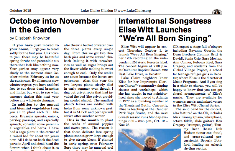 "International Songstress Elise Witt Launches ""We're All Born Singing"""