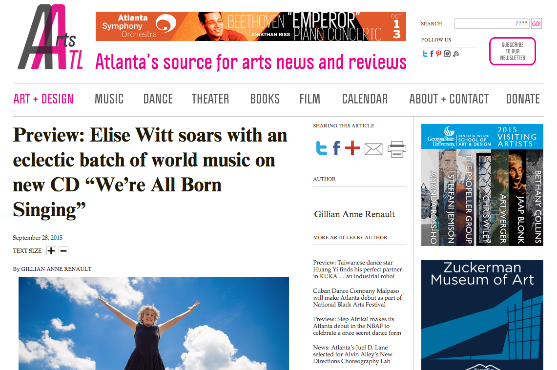 Arts ATL features Elise Witt