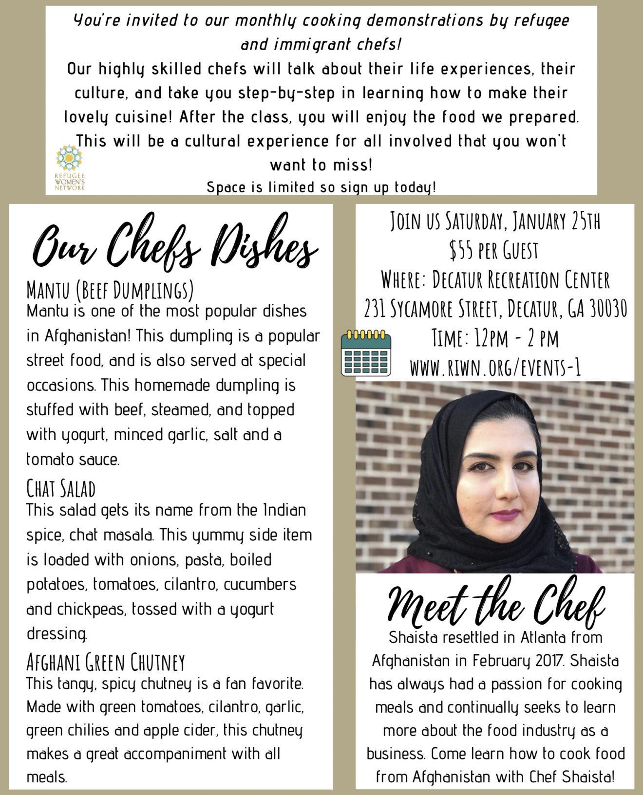 Refugee Women's Network Chefs ClassJan